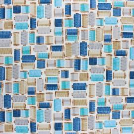Tissu coton Makower UK Stitch in Time Bobines - Ecru x 10cm