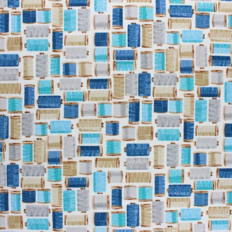 Makower UK Fabric Stitch in Time - Cream Cotton Reels x 10cm