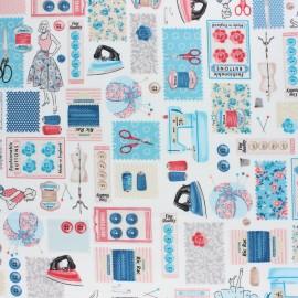Tissu coton Makower UK Stitch in Time Couture - Ecru x 10cm