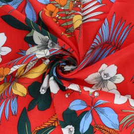 Patterned Viscose fabric - Navy blue Vahiné x 10cm