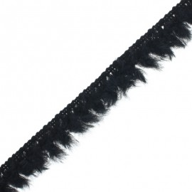 Faux Fur Trimming Ribbon - Black Frangetta x 1m