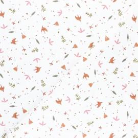 Tissu coton cretonne Paoo - blanc/marsala x 10cm