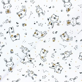 Tissu coton cretonne Bigao - Blanc x 10cm