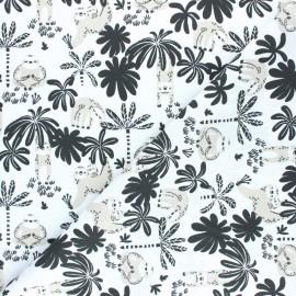 Tissu coton cretonne Macachou - Blanc/Noir x 10cm
