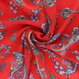 Patterned Viscose fabric - red Vahiné x 10cm