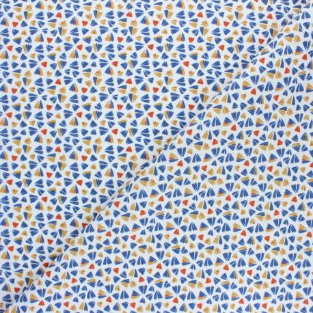 Tissu coton cretonne Zanteme - Bleu x 10cm