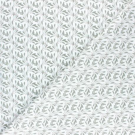 Tissu coton cretonne Slichen - vert sauge x 10cm