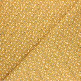 Tissu coton cretonne Fida - Jaune Moutarde x 10cm