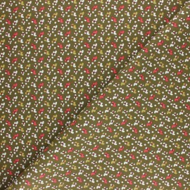Cretonne cotton fabric - khaki Fida x 10cm