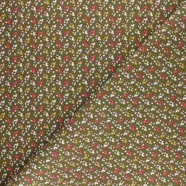 Tissu coton cretonne Fida - kaki x 10cm