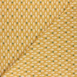 Tissu coton cretonne Pilam - Jaune moutarde x 10cm