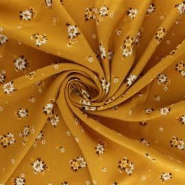 Flowery Viscose fabric - mustard Balsamine x 10cm