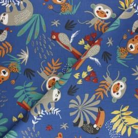Tissu coton cretonne Papaya - Bleu x 10cm