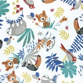 Cretonne cotton fabric - Blue Papaya x 10cm