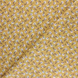 Tissu coton cretonne Lilipan - Jaune moutarde x 10cm