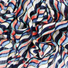 ♥ Coupon 80 cm X 150 cm ♥  Tissu Mousseline lurex Trépidante - bleu