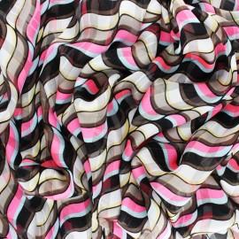 ♥ Coupon 300 cm X 150 cm ♥  Tissu Mousseline lurex Trépidante - rose