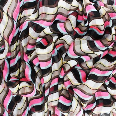 Tissu Mousseline lurex Trépidante - rose x 50cm