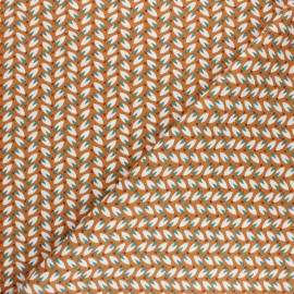 Cretonne cotton fabric - Orange Nadda x 10cm