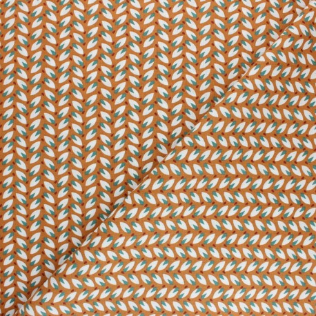 Tissu coton cretonne Nadda - Orange x 10cm