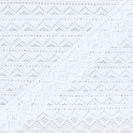 43 mm organic cotton lace ribbon - White Bella x 1m