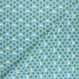 Tissu coton cretonne Muji - bleu x 10cm