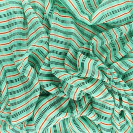 ♥ Coupon 350 cm X 150 cm ♥ Tissu Mousseline lurex Isabella - vert clair