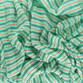 Striped Lurex Muslin fabric - coral Isabella x 50cm