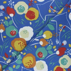 Cretonne cotton Fabric - Blue Kibird x 10cm
