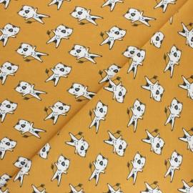 Tissu jersey Wizy - Jaune moutarde x 10cm