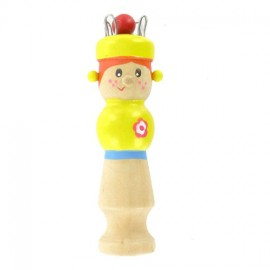 Wooden knitting doll  « yellow Cathy » - yellow
