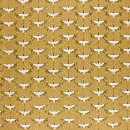Tissu coton cretonne enduit Gruzzie - ocre x 10cm