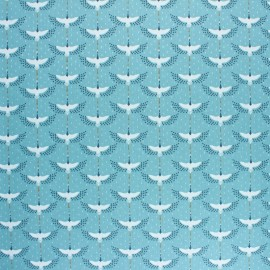 Coated cretonne cotton fabric - Blue gruzzie x 10cm