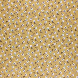 Coated cretonne cotton fabric - Mustard Yellow Lilipan x 10cm