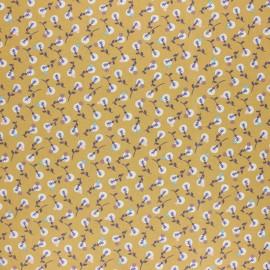 Tissu coton cretonne enduit Lilipan - Jaune moutarde x 10cm
