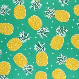 Coated cretonne cotton fabric - Green Queen x 10cm
