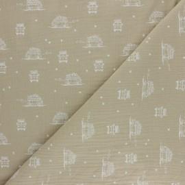Tissu double gaze de coton Sam le Van - beige x 10cm