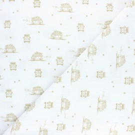 Double coton gauze fabric - white Sam the Van x 10cm