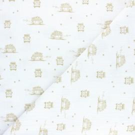 Tissu double gaze de coton Sam le Van - blanc x 10cm