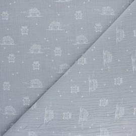 Double coton gauze fabric - grey Sam the Van x 10cm