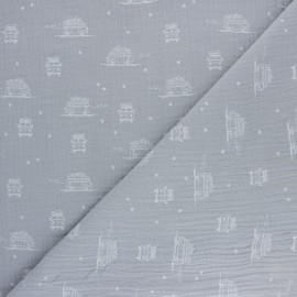 Tissu double gaze de coton Sam le Van - gris x 10cm