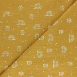 Tissu double gaze de coton Sam le Van - jaune moutarde x 10cm