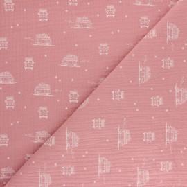 Tissu double gaze de coton Sam le Van - rose x 10cm