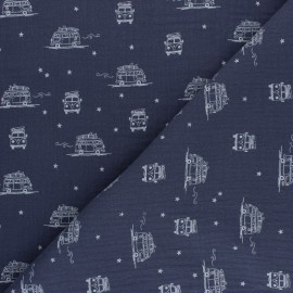 Tissu double gaze de coton Sam le Van - bleu x 10cm