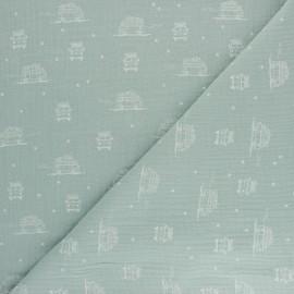 Tissu double gaze de coton Sam le Van - bleu opaline x 10cm