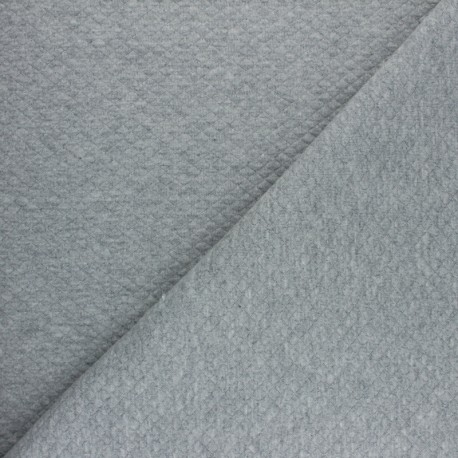 Mini Diamond Quilted jersey fabric - Mottled Grey x 10cm