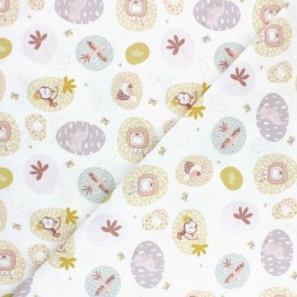 Pastel Jungle Cotton fabric - White Animaux x 10cm