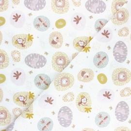 Tissu coton Pastel Jungle Animaux - Blanc x 10cm