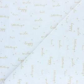 Double coton gauze fabric - white Happiness x 10cm
