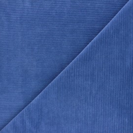 Ribbed velvet jersey fabric - blue x 10cm
